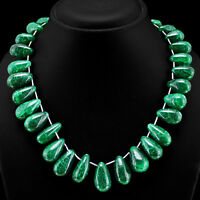 BRILLIANT EVER 500.00 CTS EARTH MINED GREEN EMERALD PEAR SHAPED BEADS NECKLACE