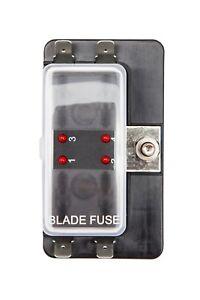 4 Way LED Standard Blade Fuse Box Holder 12V / 24V Light Car Marine Campervan