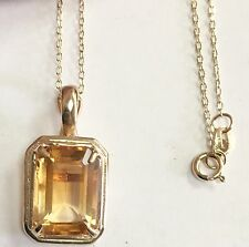 "Estate Large Emerald Cut Citrine Pendant 14k Yellow Gold 18"" Chain"