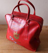 "Vintage TRAVEL CARRY BAG for OLSEN TRAVEL CHICAGO  - Red PVC 14""W 12""H 5""D"