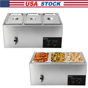 ZOKOP 3 Cells Commercial Food Warmer Bain Marie Steam Table Countertop 600W 110V