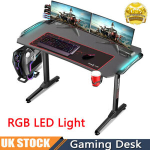 Gaming Desk Computer Table PC Laptop RGB LED Lights Racing Gamer Home Office UK