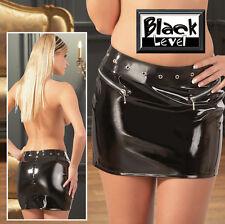 Lack Minirock schwarz XXL 2XL 52 Black Level vinyl hot mini skirt zip Nieten