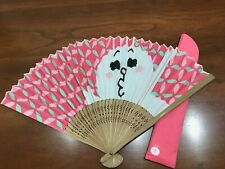 LINE Friends Naver Authentic Cony Brown Folding Bamboo Fan Japanese