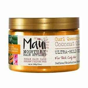 Maui Moisture Curl Quench + Coconut Oil Ultra-Hold Gel 12oz for Curly Hair St...