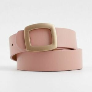 Women Waist Strap Belt Pu Leather Square Solid Pin Metal Wide Buckle Accessories