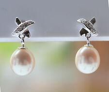 Sterling Silver 925 Girls Ladies Genuine Kiss and White Pearl Stud Drop Earrings