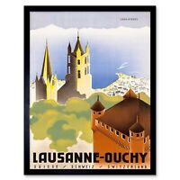 Travel Lausanne Switzerland Cathedral Notre Dame Spire Steeple Framed Art Print