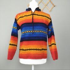 Vintage Striped Hooded Rug Sweater Aztec Pattern Blue Orange Size XS