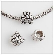 40pcs Stone pattern Tibetan Silver Bead Fit European Charm Bracelet Findings