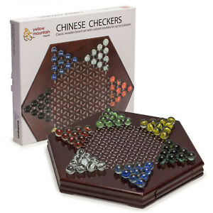 """Wooden Chinese Checkers Halma Board Game Set w/ Drawer and Glass Marbles - 12"""""""