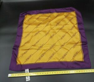 VEUVE CLICQUOT SILK Scarf Kerchief Pocket Square Orange and Purple