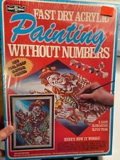 Vintage Painting Without Numbers Kit Sealed ,Craft House, Clown with Dancing dog
