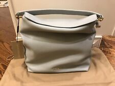 NWT AUTHENTIC Burberry Medium Leather Hobo Bag  Sky Blue Retail $950 3939070