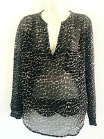 JOIE 100% SILK L/S LEOPARD PRINT  V NECK BLOUSE TOP SEMI SHEER WOMENS SIZE M