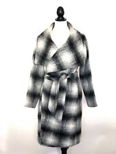 Bebe Women's Size XS Coat Belted Overcoat Black Grey White Gently Used
