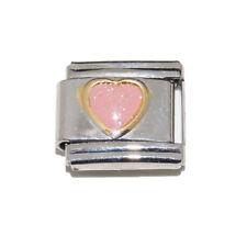 Light pink sparkly heart Italian Charm - fits 9mm classic Italian charm bracelet