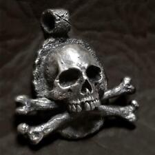 Vintage Black Stainless Steel Crossbones Skull Pendant Cross Skeleton Jewelry