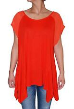 Vince Camuto Women's Short Sleeve Handkerchief Hem Top Blouse (Orange, XL)