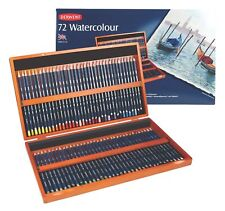 NEW Derwent Watercolour 72 Coloured Pencils Wooden Box Water Soluble