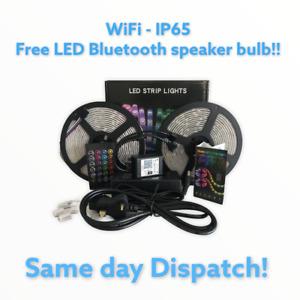 5M/10M RGB 5050 WIFI LED STRIP LIGHTS COLOUR CHANGING FLEXBILE TAPE LIGHTING