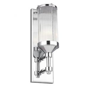 1 Light Feiss Paulson Wall Light Chrome-finished Glass Elstead Lighting