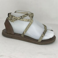 Michael Kors Womens AF11L Tan Leather Strappy Sandals Flat Ankle Strap Sz 7.5 M