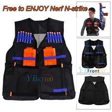 Tactical Vest Jacket For Kids Gun Dart Nerf N-Strike Elite Train W/ Pocket Black