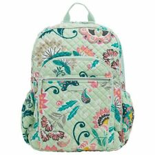 Vera Bradley Campus Backpack Bag Mint Flowers Lightweight Cotton Adjustable NWT!