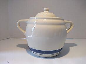 Roseville Ohio FP Friendship Pottery 3qt Blue Stripe  Cookie / Jar Bean Pot