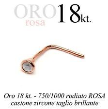 Piercing da naso nose ORO ROSA 18kt. castone zircone pink GOLD 18kt with zircon