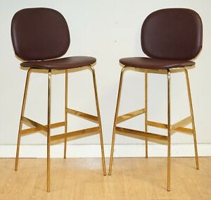 MODERN BURGUNDY FAUX LEATHER BAR STOOLS WITH GOLD LEGS