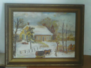 Vintage Framed 1967 Naive Oil painting of a Snow Scene & animals pulling logs
