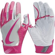 mens L Nike vapor jet 4/4.0 receiver gloves/pair white/pink cancer awareness/bca