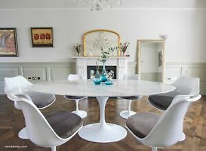 200cmx120cm White Carrara Marble Oval Tulip Style Table & 4+2 Tulip Style Chairs