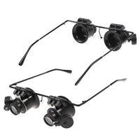Juwelier Uhrmacher 20X Lupe Mikroskop auf Brillenrahmen mit LED Lupenbrille