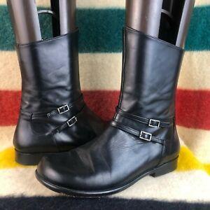 Birkenstock Footprints Black Leather Strappy Mid Calf Boots Sz 39 EU 8 US A018
