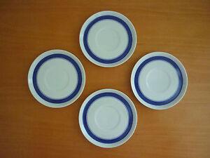 SET OF 4 VINTAGE RETRO THOMAS GERMANY SAUCERS W/ BLUE BANDS