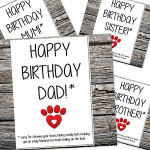 funny birthday card from the dogs mum dad sorry for the things i do