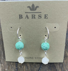 Barse Carved Resin Earrings- Sterling Silver- NWT