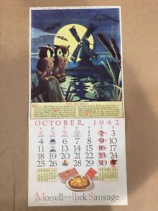 October 1942 MORRELL'S MEATS WALT DISNEY CALENDAR - RARE!