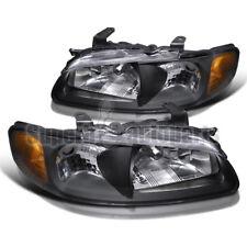 For 2000-2003 Sentra SE XE Headlights Crystal Head Lamps Black