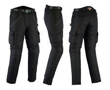 Mens Black Textile Waterproof CE Armoured Motorbike Motorcycle Trousers / Pants