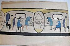 """DESSIN ORIGINAL """"FRISE FEMME A LA TOILETTE"""" Vers 1930 ART-DECO Signé THIRANT"""