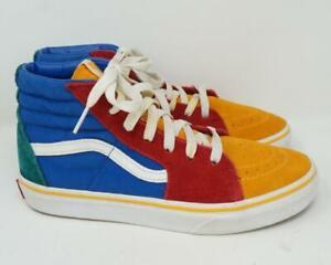 VANS Old Skool Sk8-Hi Shoes Red/Blue/Yellow Youth Kids US 5