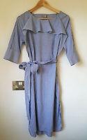 H&M Trend Poplin Cotton Stripe Frill Midi Blue White Dress UK 12 38 US 8 BNWT