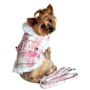NWT Doggie Design Dog Puppy Pink White Plaid with Matching Leash XS Fur Lining