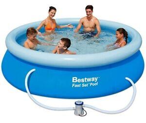Bestway Schwimmbecken Planschbecken Swimming Pool Fast Set 305cm Filterpumpe