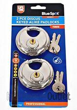 2 PACK Keyed Alike 70mm Stainless DISCUS PADLOCKS + 4 KEYS Strength 9 77028