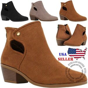 NEW Women's Perforated Cutout Chunky Block Stacked Heels Ankle Booties Boots